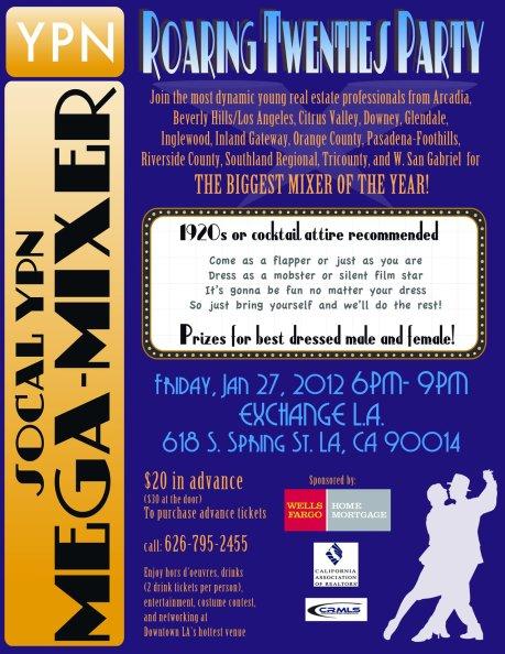 YPN Mega Mixer Event Flyer - Roaring Twenties Party