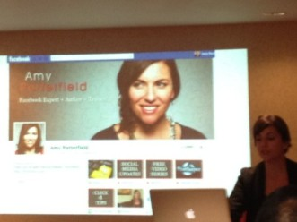 Amy Porterfield shareing Facebook Timeline Strategies at LinkedOC