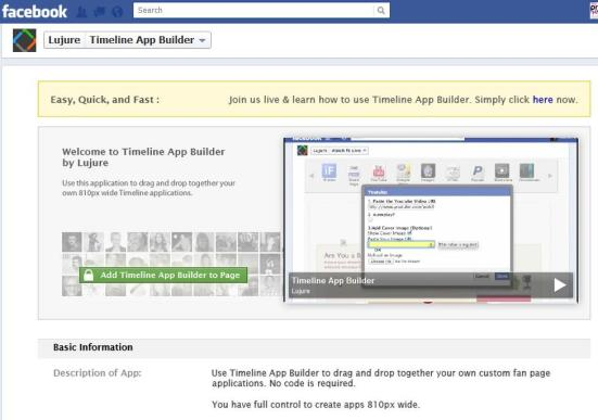 Lujure's Facebook Timeline App Builder